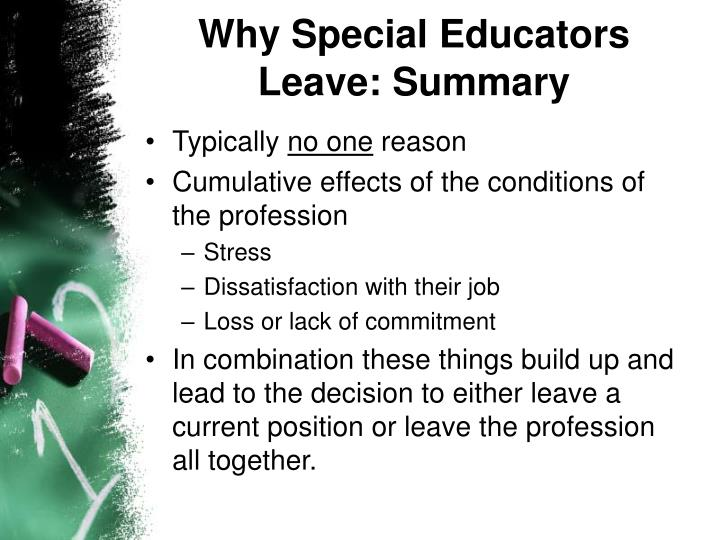 Why Special Educators Leave: Summary