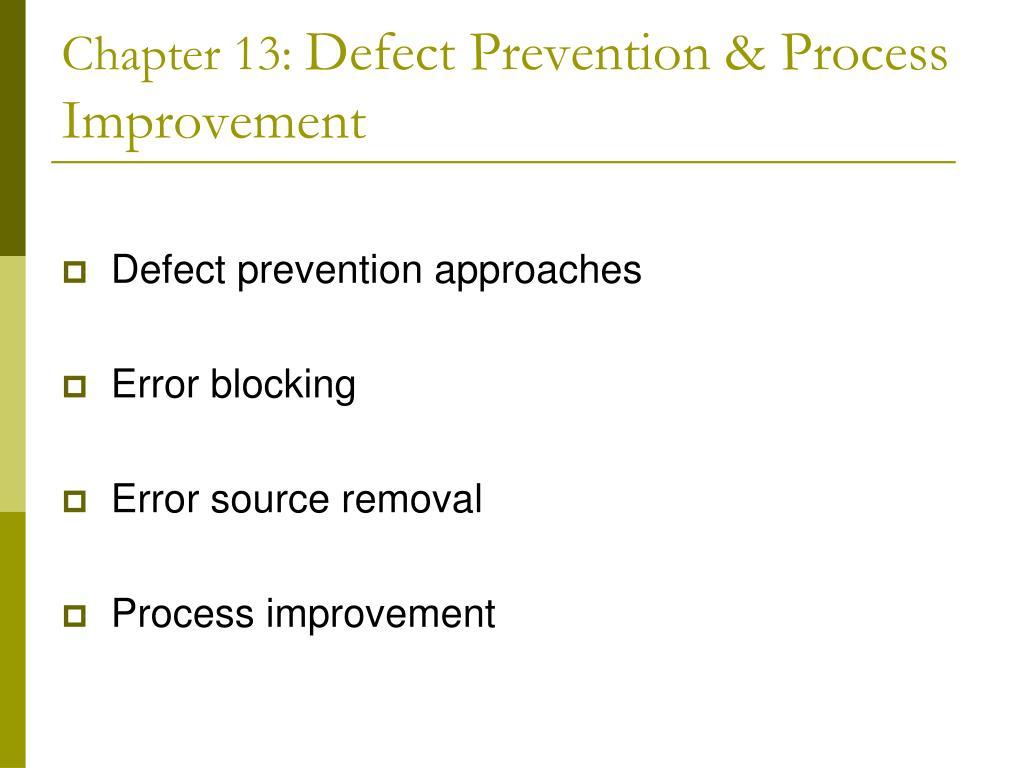 chapter 13 defect prevention process improvement