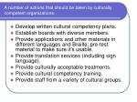 a number of actions that should be taken by culturally competent organizations