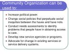 community organization can be used to