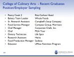 college of culinary arts recent graduates position employer sampling
