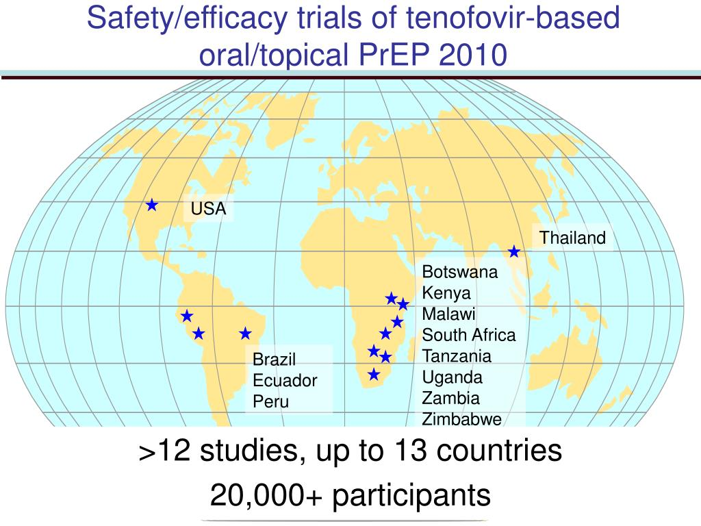 Safety/efficacy trials of tenofovir-based oral/topical PrEP 2010