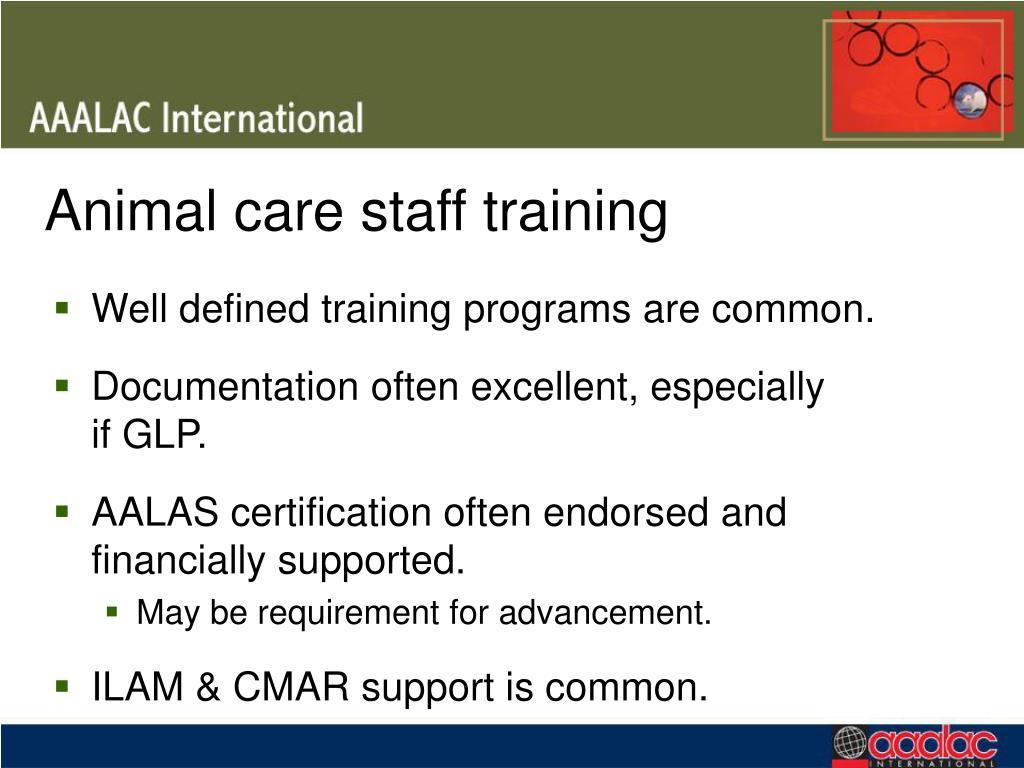 Animal care staff training