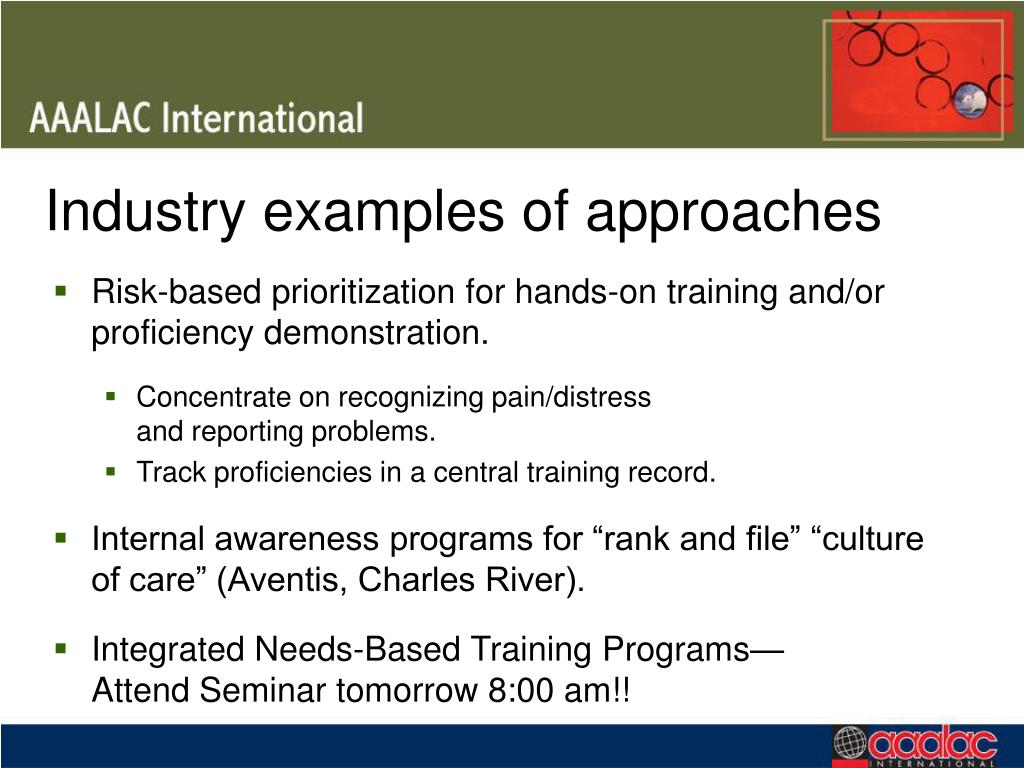 Industry examples of approaches