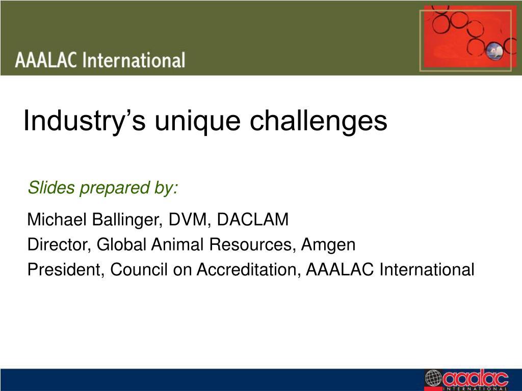 Industry's unique challenges