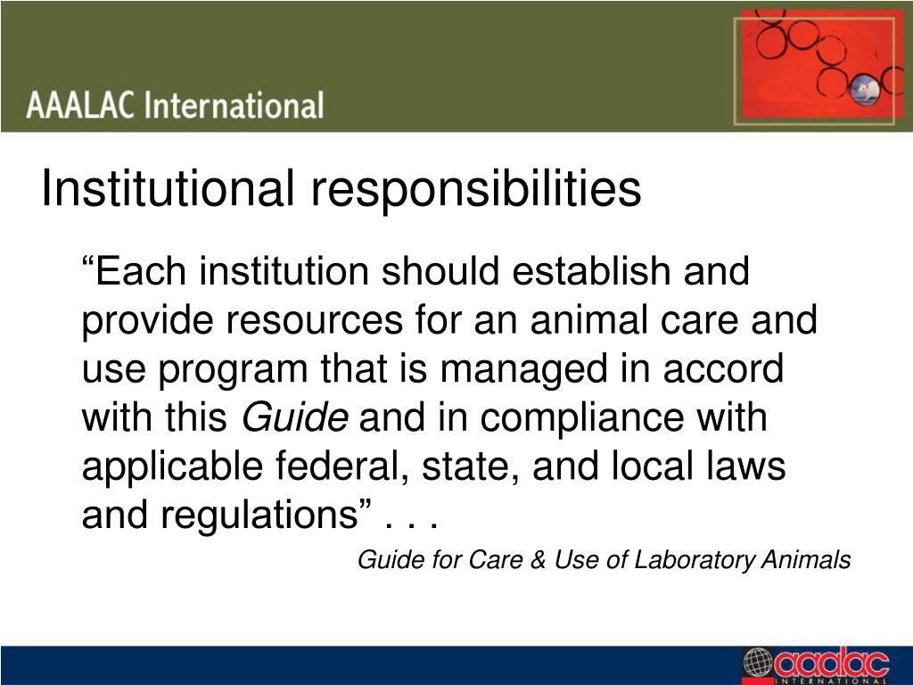 Institutional responsibilities