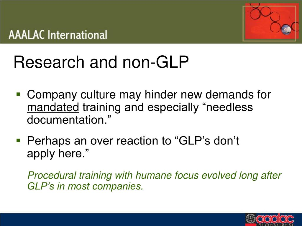 Research and non-GLP
