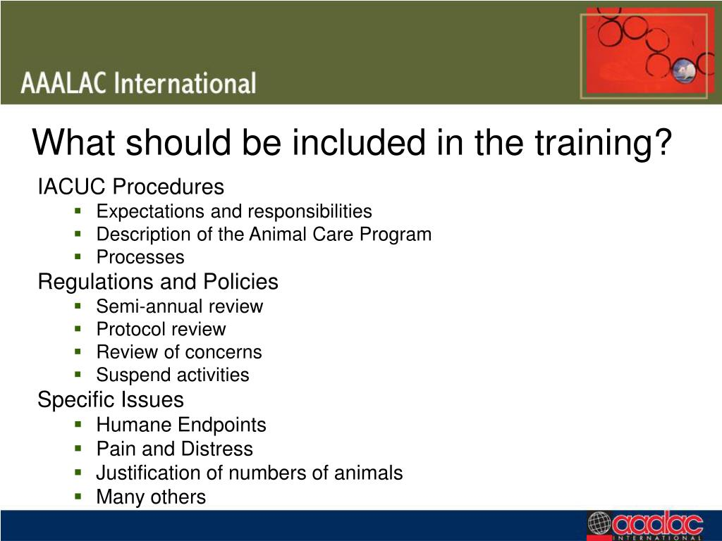 What should be included in the training?