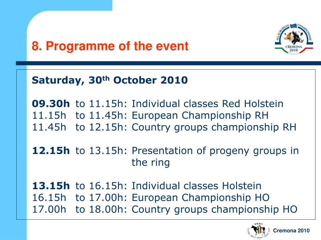 8. Programme of the event