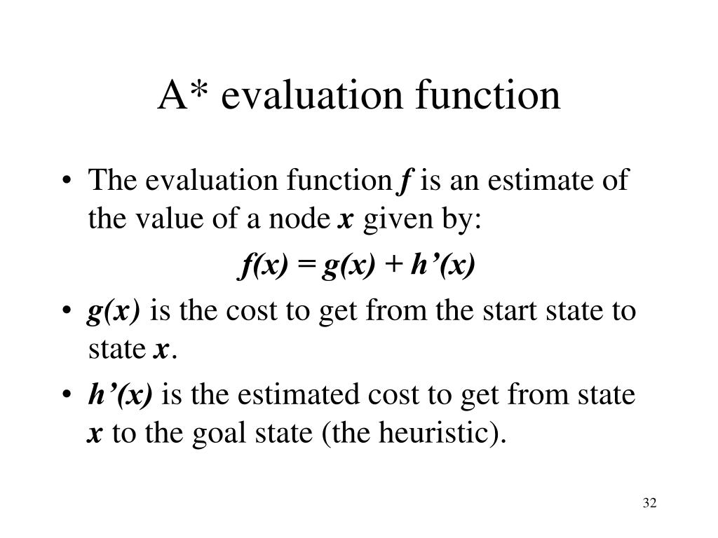 A* evaluation function