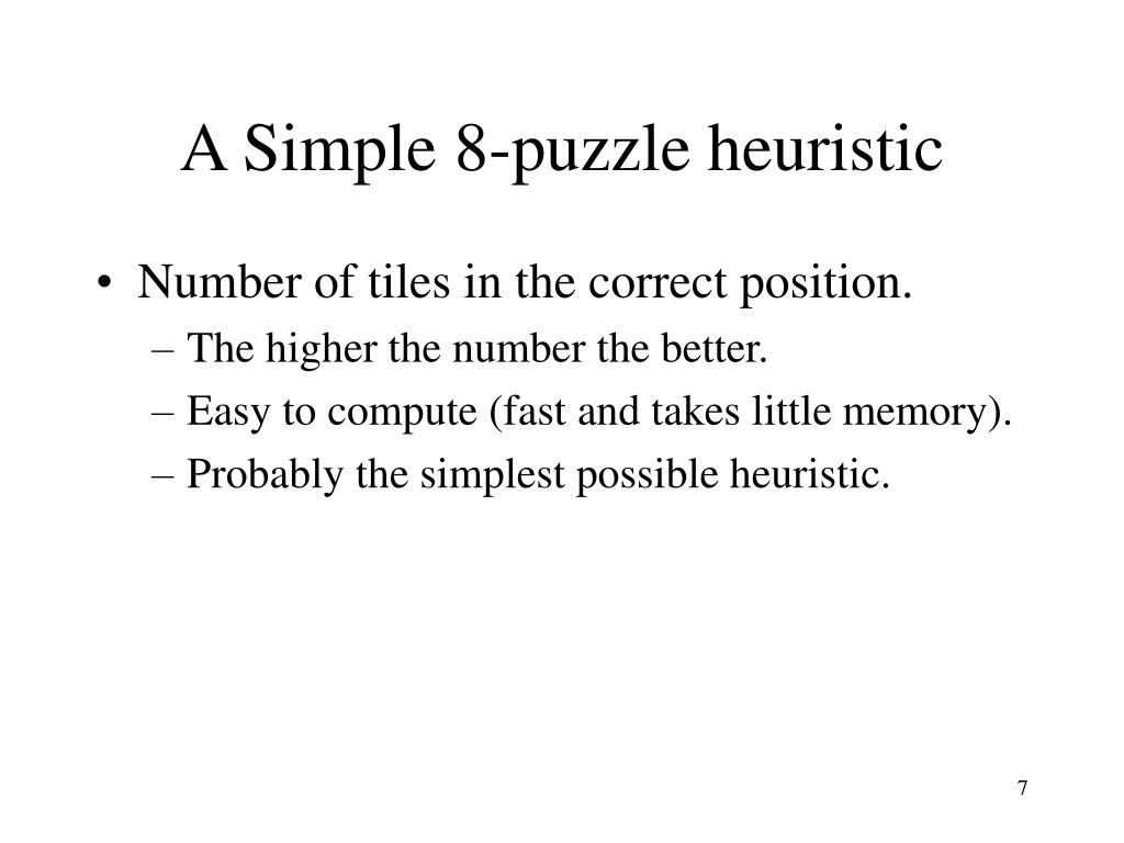 A Simple 8-puzzle heuristic