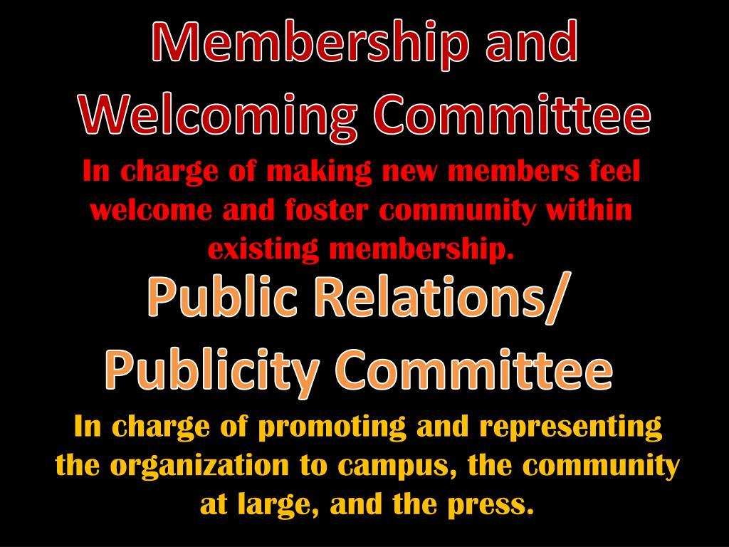 Membership and Welcoming Committee