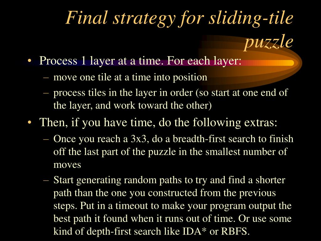 Final strategy for sliding-tile puzzle