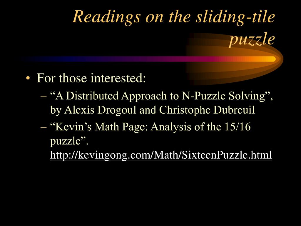 Readings on the sliding-tile puzzle