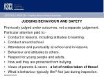 judging behaviour and safety