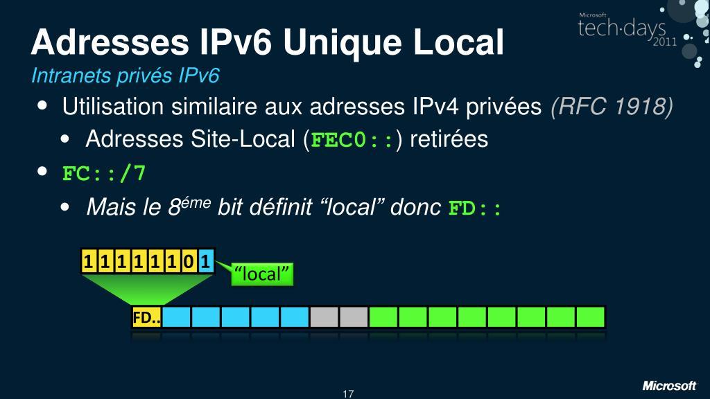 Adresses IPv6 Unique Local