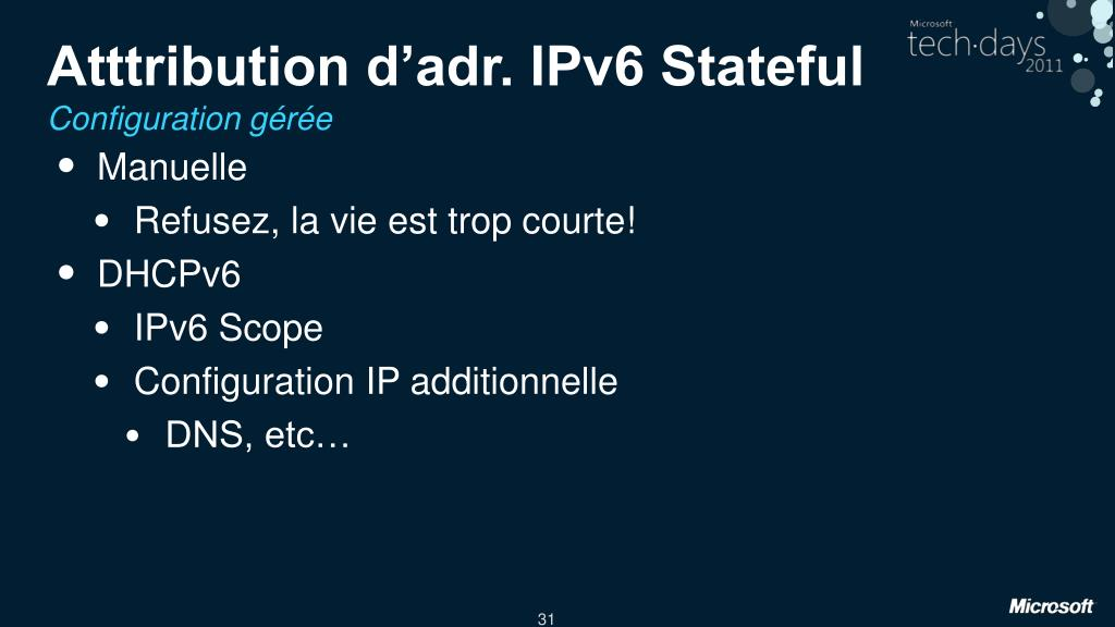 Atttribution d'adr. IPv6 Stateful