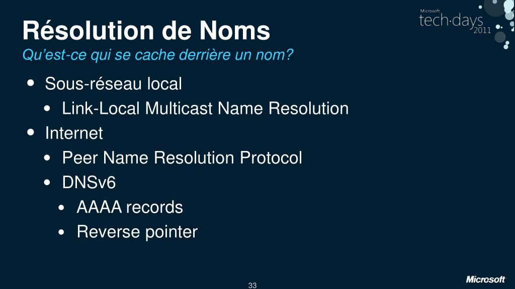 Résolution de Noms