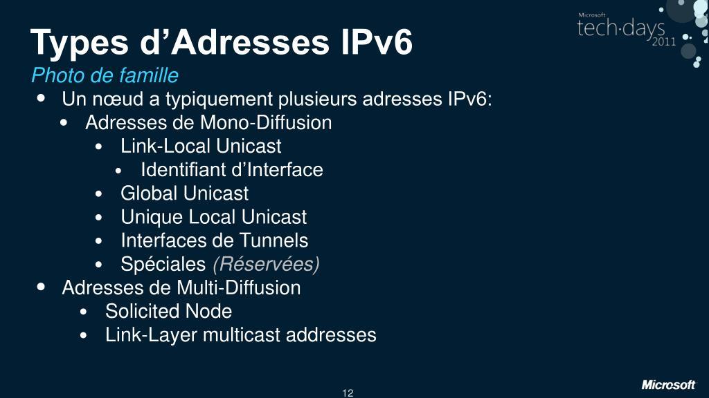 Types d'Adresses IPv6