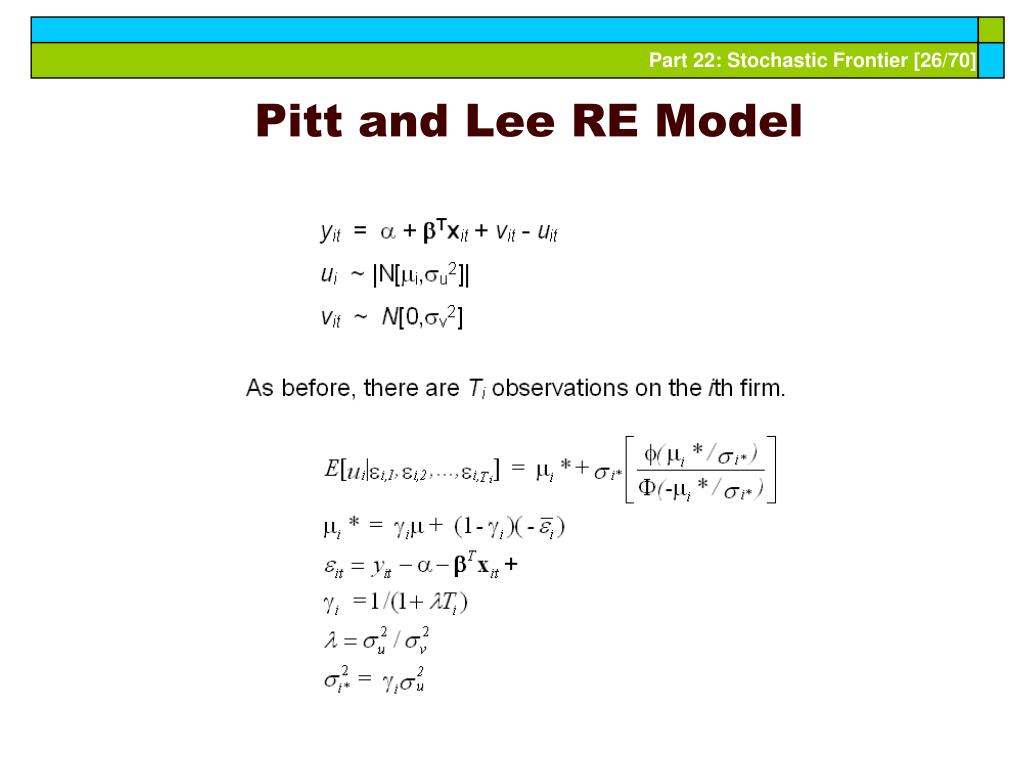Pitt and Lee RE Model