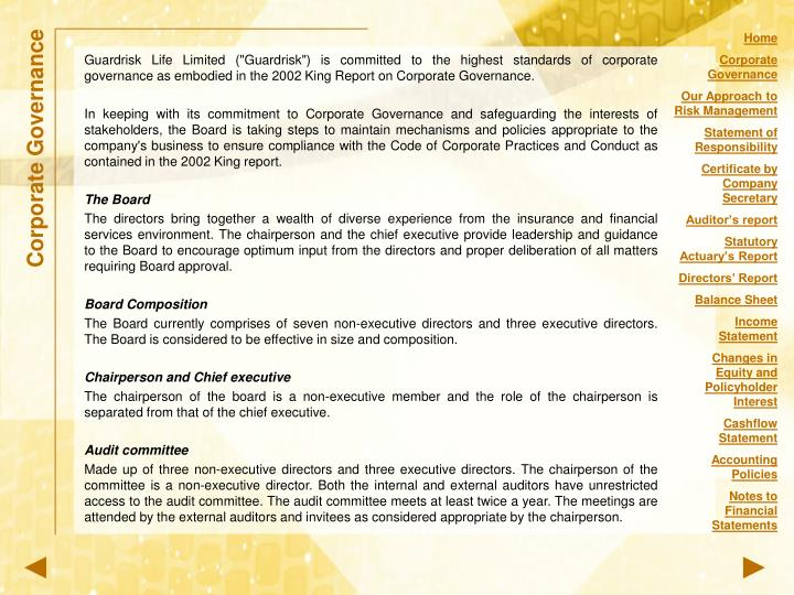 """Guardrisk Life Limited (""""Guardrisk"""") is committed to the highest standards of corporate governance a..."""