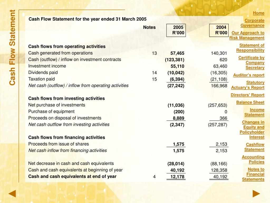 Cash Flow Statement for the year ended 31 March 2005