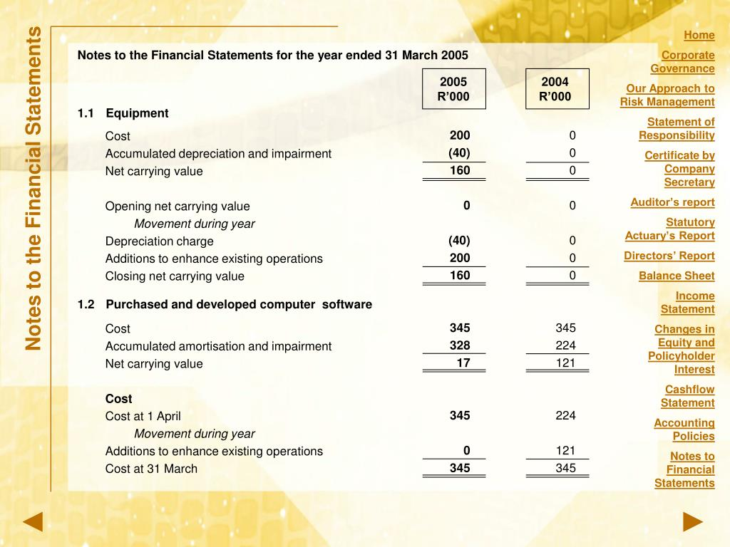 Notes to the Financial Statements for the year ended 31 March 2005