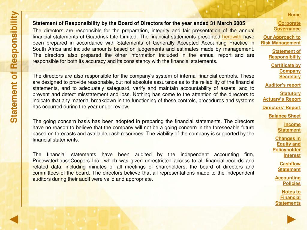 Statement of Responsibility by the Board of Directors for the year ended 31 March 2005