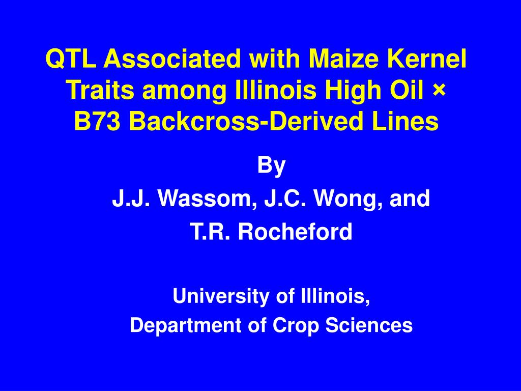 QTL Associated with Maize Kernel Traits among Illinois High Oil