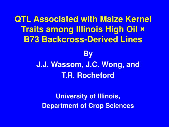 Qtl associated with maize kernel traits among illinois high oil b73 backcross derived lines
