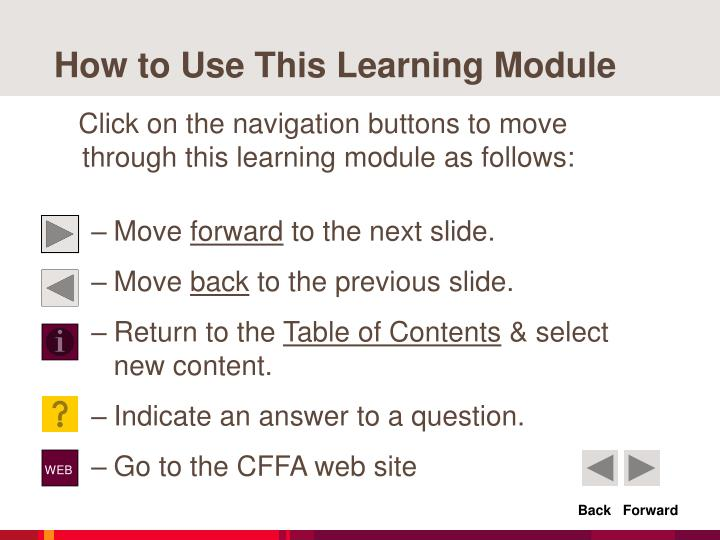 How to use this learning module