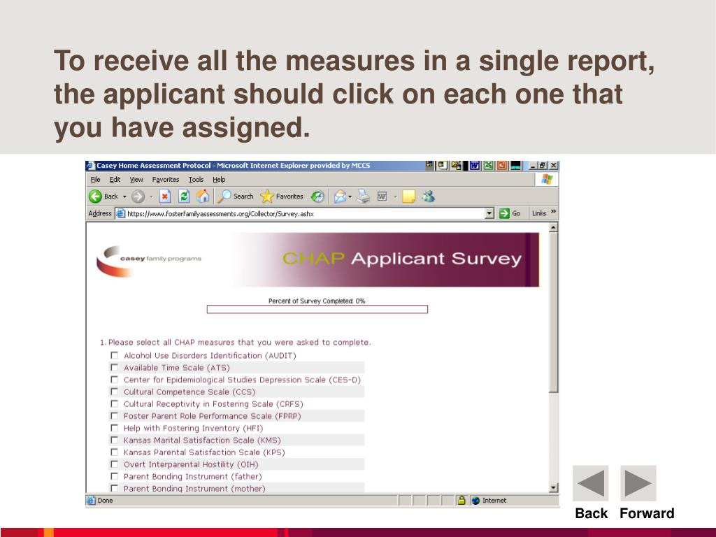 To receive all the measures in a single report, the applicant should click on each one that you have assigned.