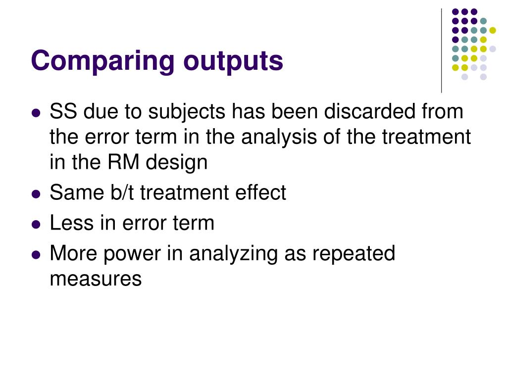 Comparing outputs