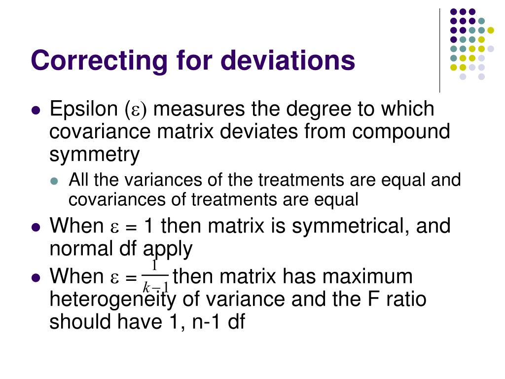 Correcting for deviations