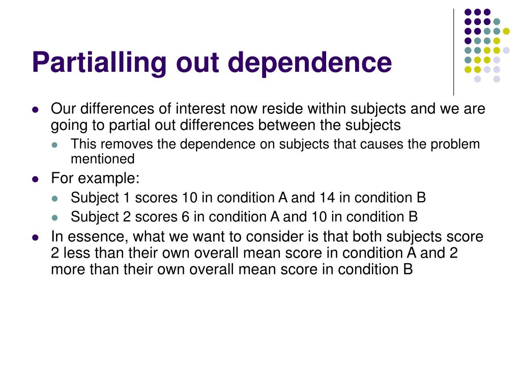 Partialling out dependence