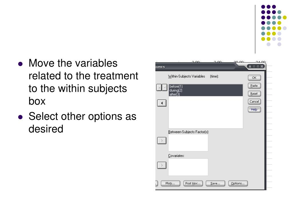 Move the variables related to the treatment to the within subjects box