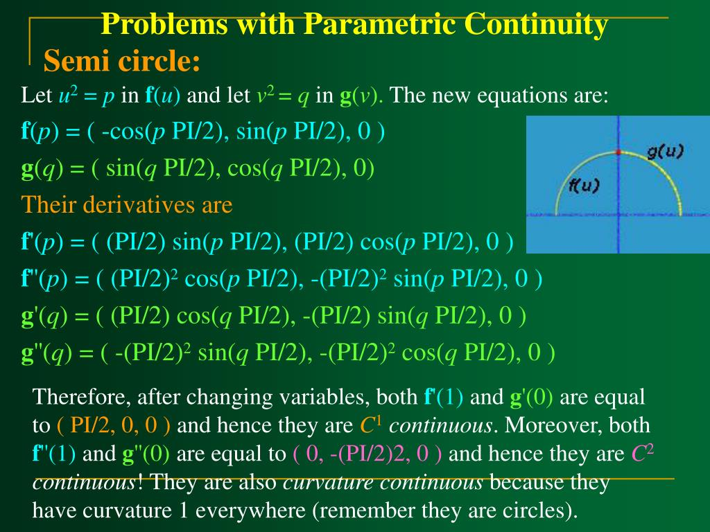 Problems with Parametric Continuity