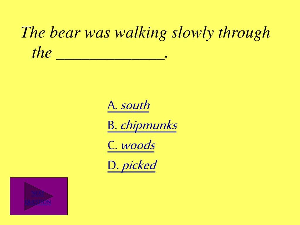 The bear was walking slowly through the _____________.