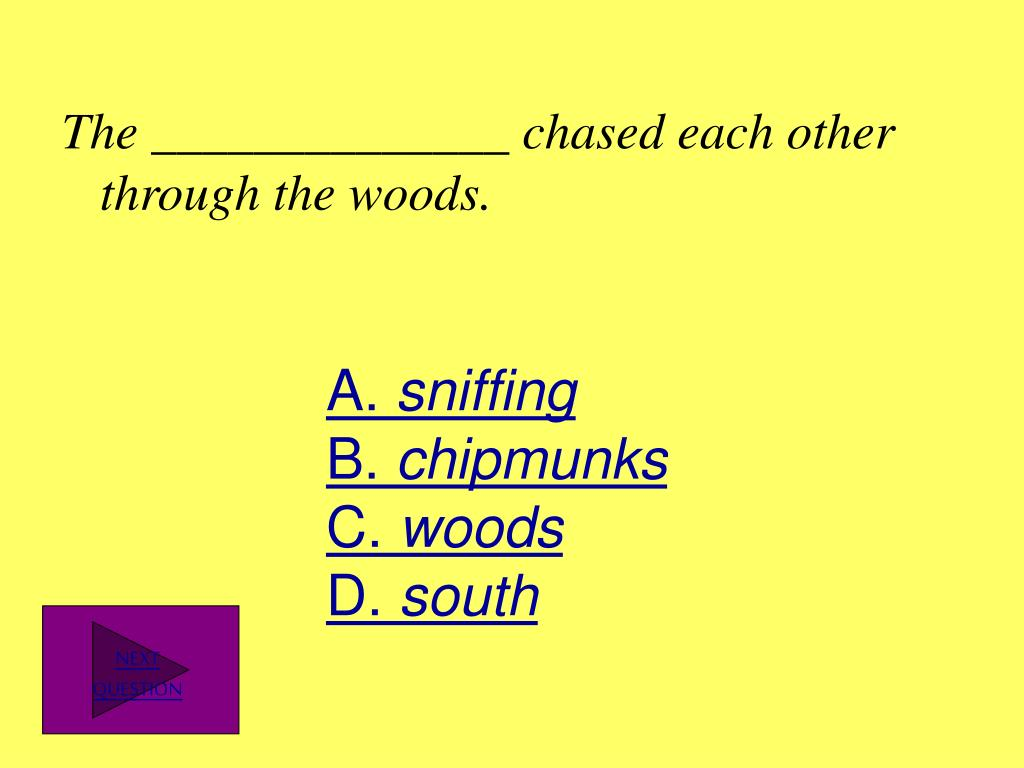 The ______________ chased each other through the woods.