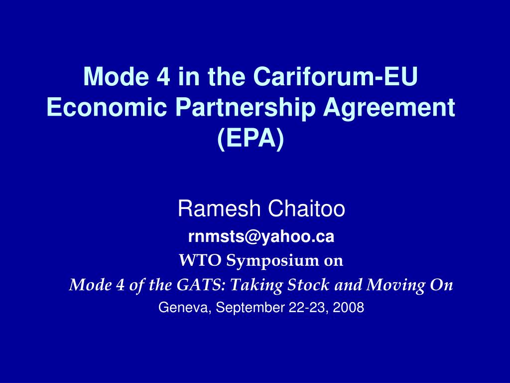 Ppt Mode 4 In The Cariforum Eu Economic Partnership Agreement Epa