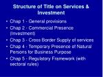 structure of title on services investment