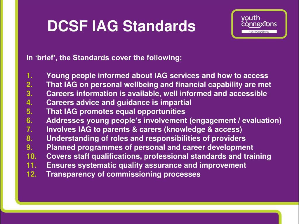 DCSF IAG Standards