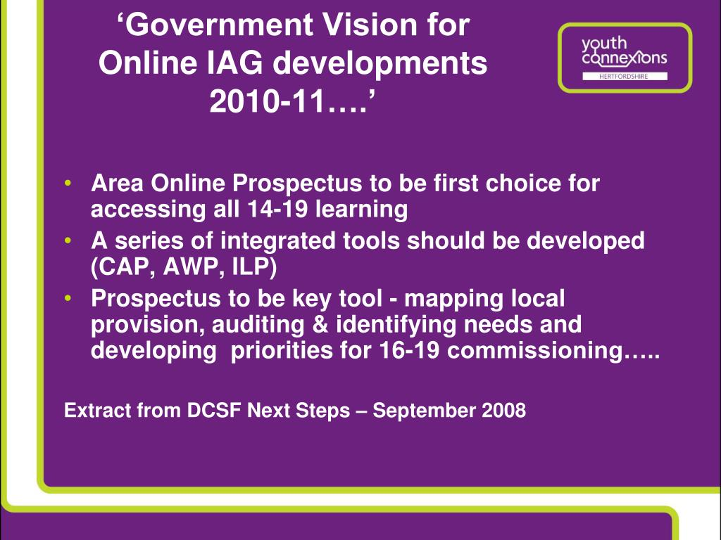 'Government Vision for Online IAG developments 2010-11….'