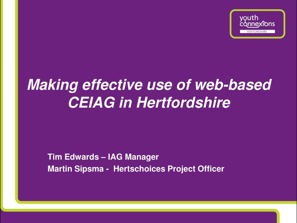 Making effective use of web-based CEIAG in Hertfordshire