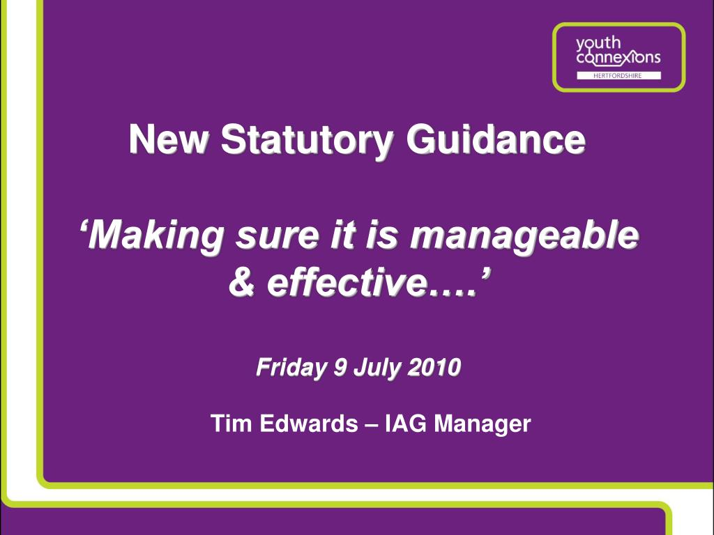 New Statutory Guidance