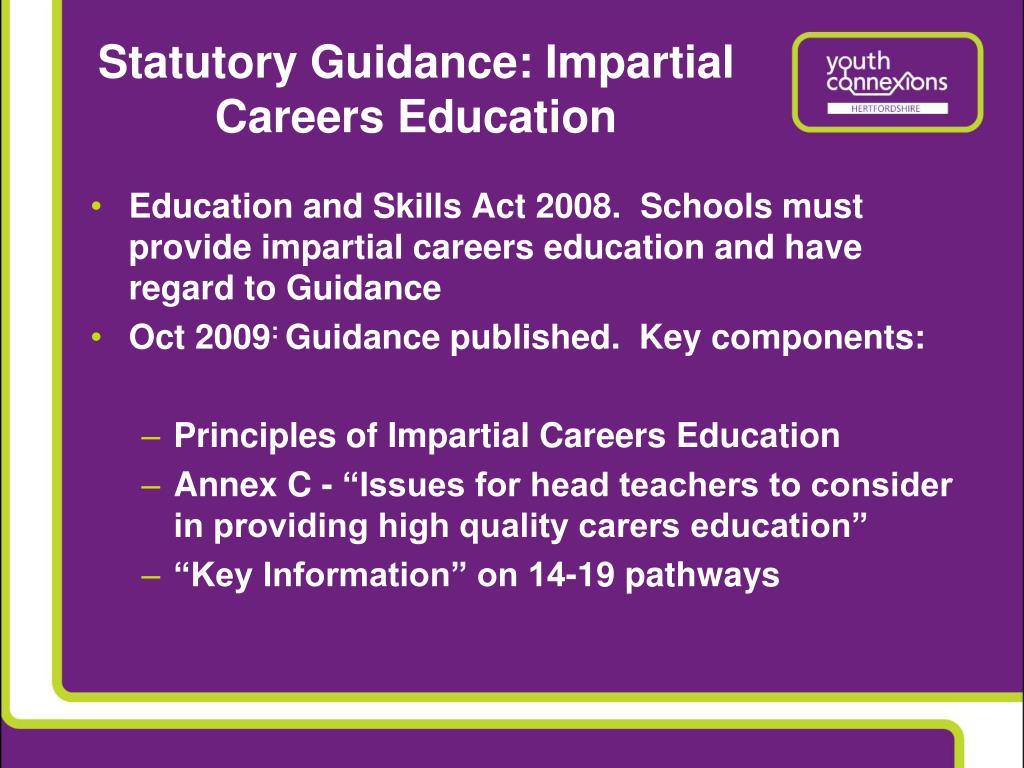 Statutory Guidance: Impartial Careers Education