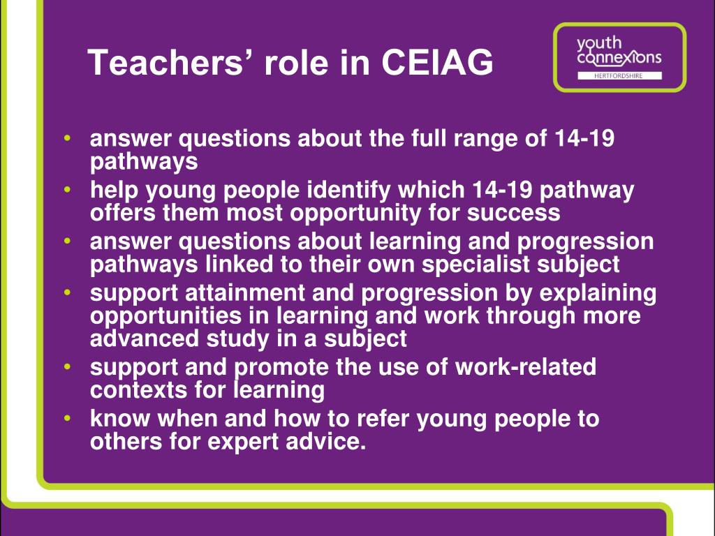 Teachers' role in CEIAG