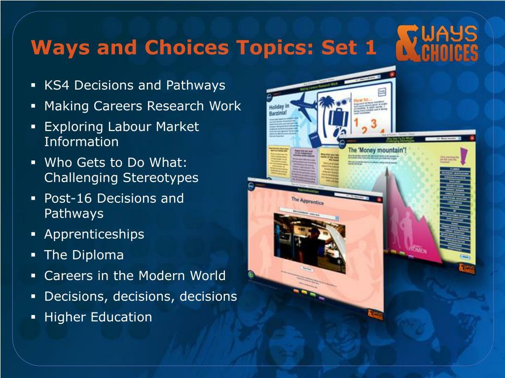 Ways and Choices Topics: Set 1