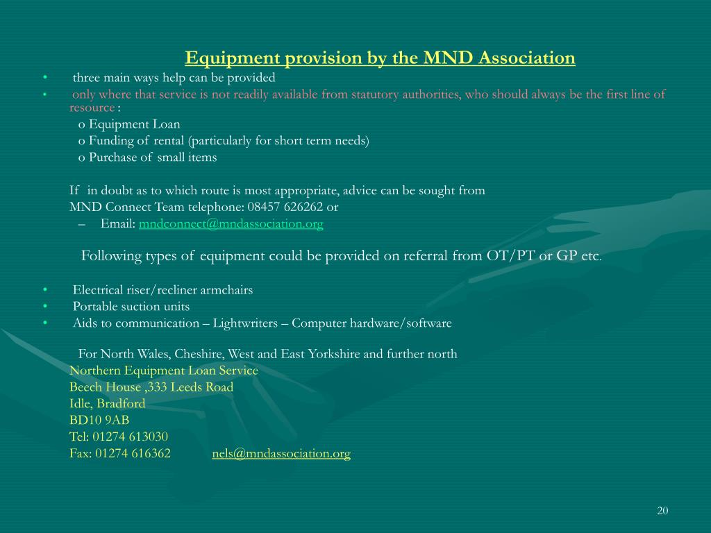 Equipment provision by the MND Association