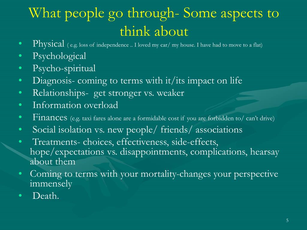 What people go through- Some aspects to think about